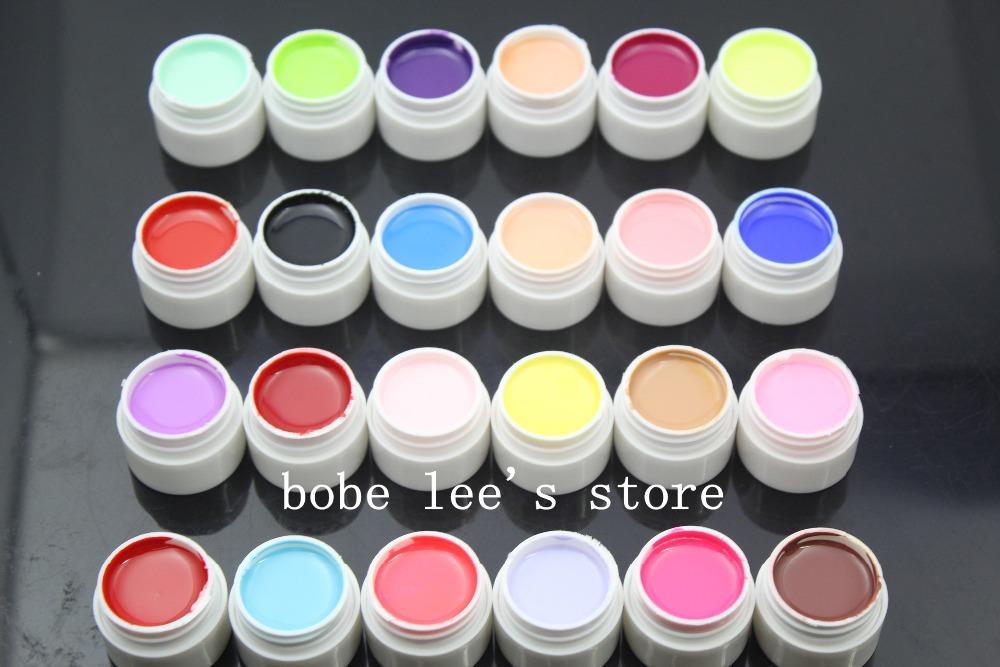 24 misto diversi colori puri nail art uv gel set per unghie salone di bellezza forniture gomma lacca per unghie set # 24*0.25oz