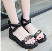 New arrival 2014 spring and summer gladiator wedges style metal decoration platform sandals female