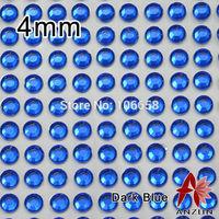 4mm 100pcs/sheet 20Sheets/lot Self Adhesive Diamante Stick On Rhinestone Gems DIY Rhinestone Sticker Dark Blue