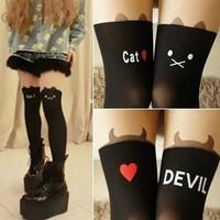 Harajuku cat demon patchwork over-the-knee gaotong pantyhose stockings