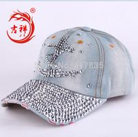 2014 new men Diamond brand Anchors rhinestone rivets women baseball cap lady casual sequined baseball cap sun hat