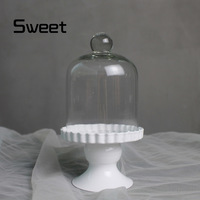 mini-cake rack fashion dessert props belt glass cover paper cup cake pan iron cake stand with glass dome