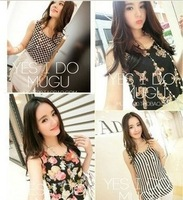 Summer 2014 New Korean Women Wild Bottoming Shirt Multicolor Printing Chiffon Vest Sleeveless T-shirt Free Shipping