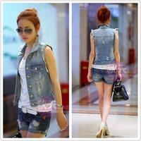 Denim vest outerwear female spring and autumn all-match women's kaross vest short design top coat