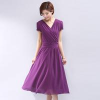 2014 women's V-neck pleated one-piece dress slim waist women's solid color long design chiffon one-piece dress 75