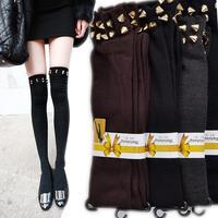 Rivet socks female 100% cotton socks over-the-knee socks stockings socks rivet stocking knee-high socks