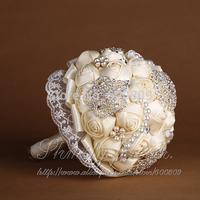 Free Shipping! Ivory Rose Diamante Bride/Bridesmaid/Flowergirl Wedding Flowers Bouquet Posy