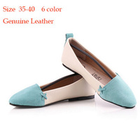 New 2014 Plus Size 35-40 Green Blue pink orange Women Genuine Leather Cowhide Flats Shoes for Women