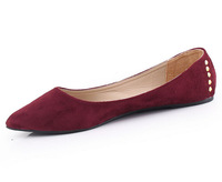 New 2014 Plus Size 35-40 Pointed Toe Blue Dark red Grey  Rivets Women  Flats Shoes for Women Wholesale Price