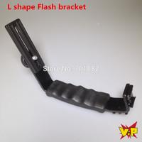 "WALTER Dual Hot shoe 1/4"" L Shape Flash Bracket for Flash Speedlight LED Video Light"