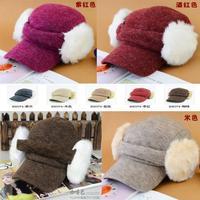 women's autumn and winter rabbit fur baseball the disassemblability  warm hat  ear protector fashion cap
