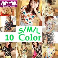 2014 NEW CHIC! Hot Sale Free Shipping Sexy Women Colorful Birds Chiffon shirt Batwing Loose Blouse Casual Tops 14003