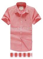 21 color summer new short-sleeved cotton shirt lapel, fashion casual short, solid color plaid shirt design provisions shirts