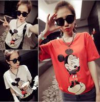 Cheap Brand Women Mickey Mouse Printed 2014 Tshirt For Lady Zipper Harajuku Short Sleeve Girl Shirt Tops Tee HX053-723
