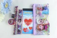 Free shipping 20sets 7 in 1 frozen stationery frozen pencil eraser sharpener ruler set For Kids gift children stationery set