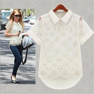 Frete grátis 2014 verão nova moda de estilo europeu oco rendas chiffon camisas de manga curta blusas saia(China (Mainland))