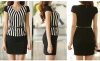 2014 summer new Professional Women's Fashion Stripe Stitching Slim Waist Short Sleeve V-neck Dress Ol Career.