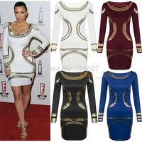 Women Dresses Summer 2014 Fashion Brand Long Sleeve  Print Dress Plus Size Pencil Dress Casual Woman Dress 4 Colors On Sale