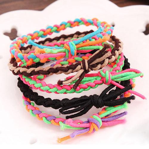 Min. order $10(Mix item) 2014 Korean fashion hand-woven braids hair rubber band Hair bands hair accessories random color ACO2127(China (Mainland))