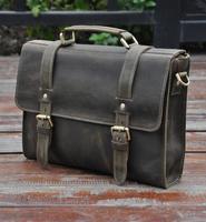 European style laptop bag crazy horse leather men briefcase genuine leather men messenger bags