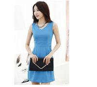 2014 Summer new Korean Ladies Fashion Slim Thin Sleeveless V-neck Dress Stitching.