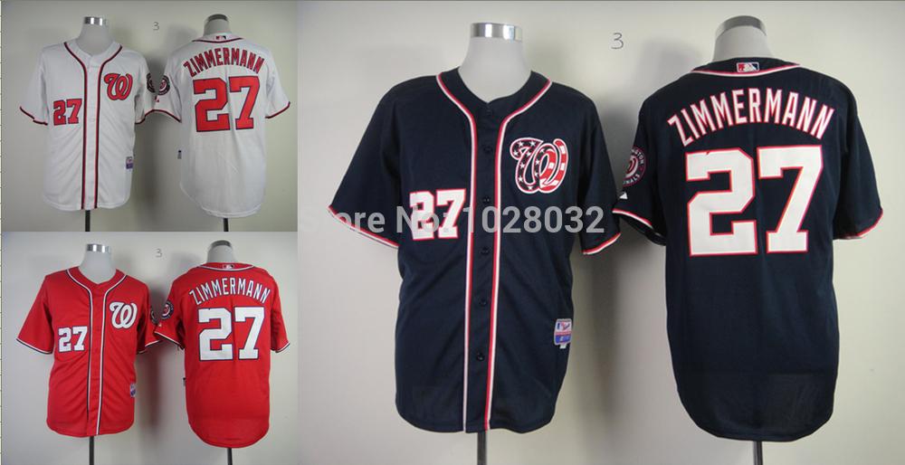 Cheap Authentic Washington Nationals Jersey #27 Jordan Zimmermann White/Blue/Red Cool Base Jersey,Nationals Baseball jersey(China (Mainland))