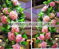 New 10pcs Romantic 2.4-2.5M Wedding Decorative Artificial Flower Rose Vine 6 Color Pink Purple FL1510