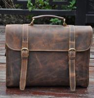 Genuine leather men briefcase bag men messenger shoulder bag for 14-inch laptop