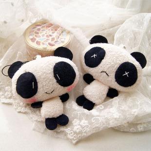 free shipping 100pcs wholesale china Panda cartoon doll mobile phone chain plush(China (Mainland))