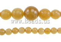 Free shipping!!!Jade Beads,Women Jewelry, Jade Yellow, Round, faceted, 6-14mm, Hole:Approx 0.8-1.5mm, Length:17 Inch