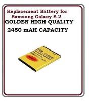 Good quality High capacity 3.7V 2450mah gold battery for Samsung Galaxy s2 i9100 10pcs/lot free shipping
