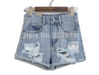 Winnyfu2014 New Europe retro sexy pale gray-blue bead hole high waist denim shorts female loose summer tide