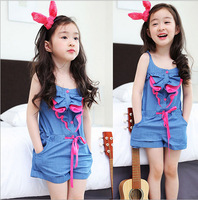 2T-6T New hot fashion kids girl rompers & jumpsuits denim summer clothing children strap overalls jean shorts baby rompers