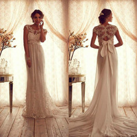 Vintage Lace Custom made Wedding Dress 2014 Sheer Crew Neckline Cap Sleeves Empire Backless Appliqued Court Train Bridal Gown