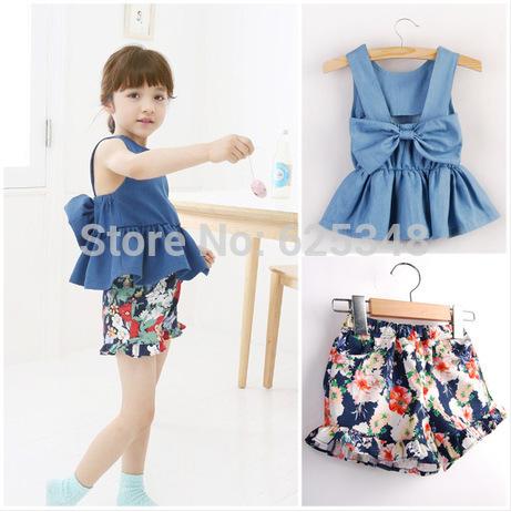AliExpress.com Product - 2014 New fashion girl's clothing set bow denim t-shirt+floral shorts 2pcs/set children summer set top quality baby set Retail