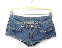 Winnyfu2014 new sexy women to do the old worn dark blue cotton denim hipster jeans short shorts