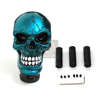 Cute Car Skull Gear Shift Knob Cover Blue Carved Ghost Rider