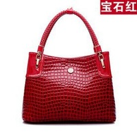 2014 new winter leather female shoulder bag casual crocodile pattern handbag bag women Practical big bag free shipping