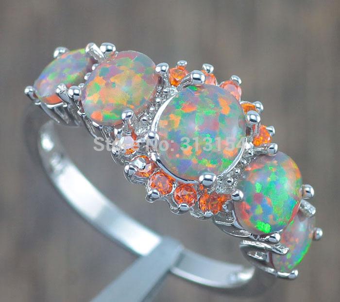 Hot Sell Luxury Noble Wholesale Jewelry Orange Fire Opal Orange Garnet Silver Ring Size 5 6