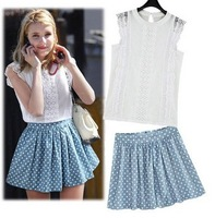 new 2014 Top Quality Women  lace decoration vest +star print skirt suit  plus size skirt vest  2pcs sets       #C0458