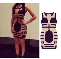 2014 the European and American stars Midi Bodycon dress, sleeveless bandage dress sexy party