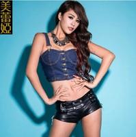 Dj female singer slim twirled clothing female ds costume fashionable denim spaghetti strap tube top women's