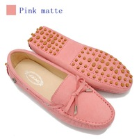 2014 NEW Women genuine leather shoes Peas soft driving BOW lace up Loafers lady Moccasins woman flats fashion pink 8 colors