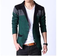 Free shipping 2014 spring new fashion male slim plus size 4xl 5xl 6xl knitted blazer suit jacket male blazer men