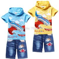 2014 Autumn/spring Dusty Plane Child Boys Hoodies+Short Jeans Short Sleeve children Hoodies cartoon top kids 6 Set/Lot 2