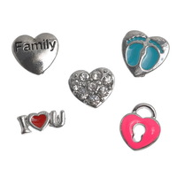 10PCs Floating Charms For Glass Floating Locket Love 12x5mm-12x12mm Mixed