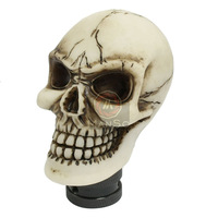 White Ceramic Skull Head Shaped Vehicle Car Gear Shift Lever Knob