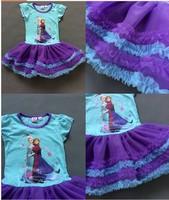 Super beautiful !!Hot sale USA design Children's snow Romance FROZEN girls dress tutu veil Dairy Queen girls dress