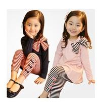 new 2014 girl's fashion clothing set baby casual bow striped girls clothing set baby & kids atacado roupas infantil TZ-51