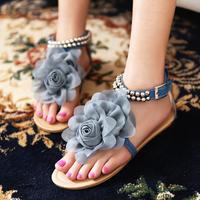 2014 Hot bohemia women sandals beaded flower women flat cover heel flip-flop flats big size 34-43 free shipping LX04